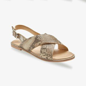 Blancheporte Ploché kožené sandály, hadí vzor béžová/černá 38