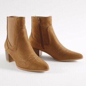 Blancheporte Nízké kozačky, western styl karamelová 39
