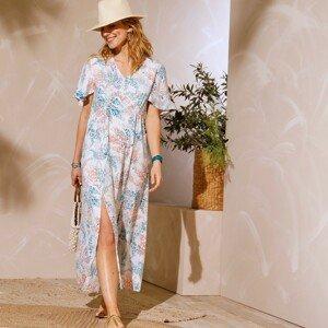Blancheporte Dlouhé šaty s potiskem bílá/korálová 48