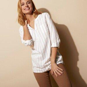Blancheporte Pruhovaná tunika bílá/oříšková 48