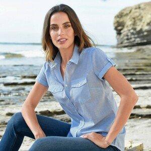 Blancheporte Pruhovaná košilová halenka bílá/modrá 44