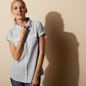Blancheporte Pruhovaná košilová halenka bílá/šedá 38
