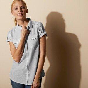 Blancheporte Pruhovaná košilová halenka bílá/šedá 48