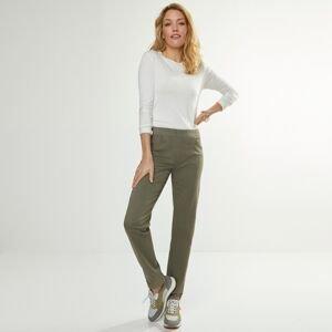 Blancheporte Rovné kalhoty s pružným pasem khaki 38