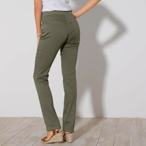 Blancheporte Rovné kalhoty s pružným pasem khaki 54