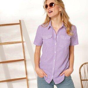 Blancheporte Pruhovaná košilová halenka bílá/šeříková 42