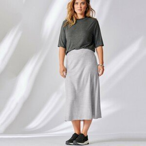 Blancheporte Polodlouhá sukně kašmírová na dotek šedý melír 42/44