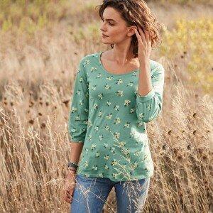 Blancheporte Tričko s potiskem a halenkovými rukávy, ekologicky vyrobené zelená 42/44