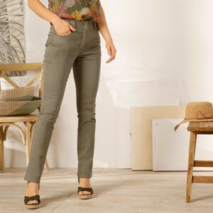 Blancheporte Rovné kalhoty s vysokým pasem, malá postava khaki 50