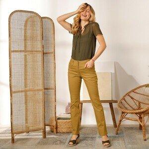 Blancheporte Rovné kalhoty s vysokým pasem, malá postava šafránová 42