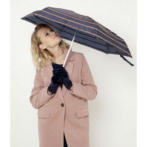 Tmavě modrý pruhovaný skládací deštník CAMAIEU