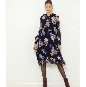 CAMAIEU modré květované šaty - XL