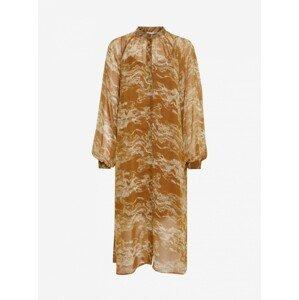 Ichi hnědé vzorované midi šaty - XL