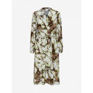 Ichi hnědo-krémové květované šaty se zavazováním - XL
