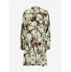 Ichi hnědo-krémové květované šaty - L