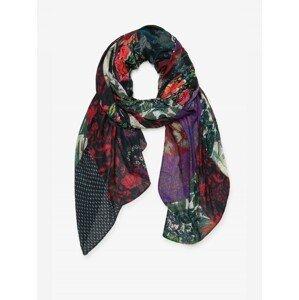 Růžovo-zelený květovaný šátek Desigual