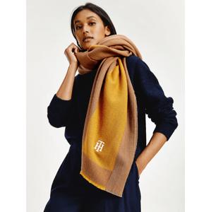 Hnědo-žlutá dámská šála s příměsí vlny Tommy Hilfiger Feminine Blanket