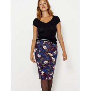 Modrá květovaná pouzdrová sukně CAMAIEU - S