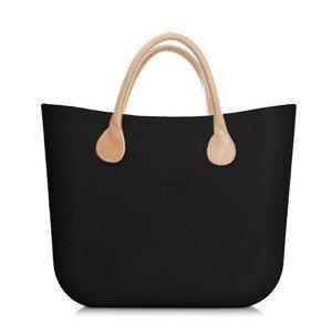 Obag kabelka MINI Nero s krátkými koženkovými držadly natural