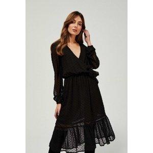 Moodo černé puntíkované šaty - 44