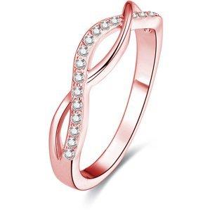 Beneto Růžově pozlacený stříbrný prsten s krystaly AGG191 52 mm