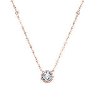 Beneto Růžově pozlacený stříbrný náhrdelník s krystaly AGS1135/47-ROSE