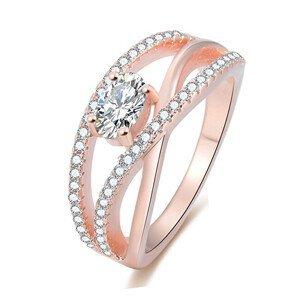 Beneto Růžově pozlacený stříbrný prsten se zirkony AGG331 60 mm