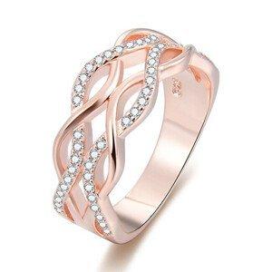 Beneto Růžově pozlacený stříbrný prsten se zirkony AGG333 58 mm