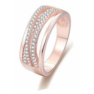 Beneto Růžově pozlacený stříbrný prsten se zirkony AGG340 58 mm