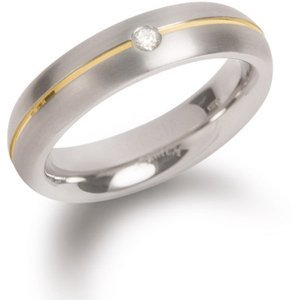 Boccia Titanium Titanový snubní prsten s diamantem 0130-06 49 mm