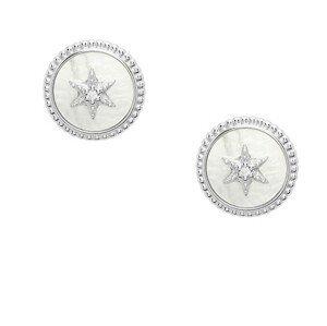Fossil Něžné stříbrné náušnice s perletí JFS00500040