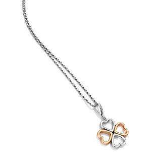 Hot Diamonds Bicolor stříbrný čtyřlístkový náhrdelník s diamantem Lucky in Love DP769