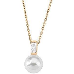 Majorica Stříbrný náhrdelník s perlou a kamínkem 12265.01.1.000.010.1 (řetízek, přívěsek)