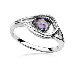 MOISS Luxusní stříbrný prsten s ametystem a zirkony RG0000 57 mm