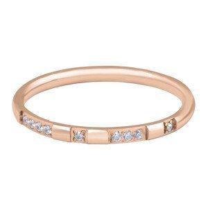 Troli Pozlacený minimalistický prsten z oceli se zirkony Rose Gold 52 mm