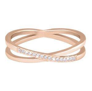 Troli Pozlacený dvojitý prsten z oceli s čirými zirkony Rose Gold 47 mm