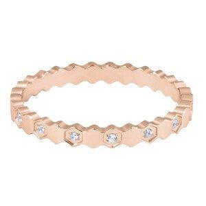 Troli Designový pozlacený prsten z oceli s čirými zirkony Rose Gold 52 mm