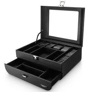 Troli Černá luxusní šperkovnice s průhledným víkem B59