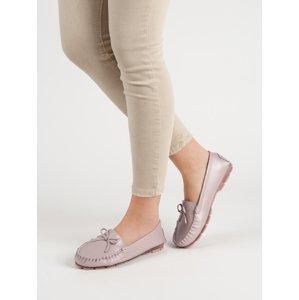 Trendy  mokasíny růžové dámské bez podpatku