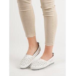 Pěkné dámské bílé  mokasíny bez podpatku