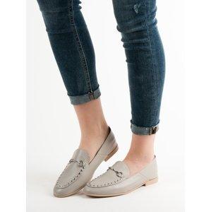 Originální šedo-stříbrné  mokasíny dámské bez podpatku
