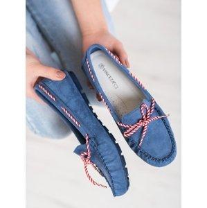 Pěkné modré  mokasíny dámské bez podpatku
