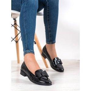Krásné černé  lodičky dámské na širokém podpatku