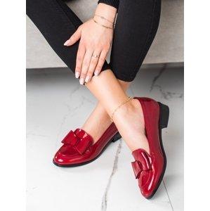 Krásné  mokasíny dámské červené na širokém podpatku