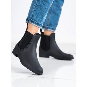 Trendy dámské černé  gumáky na plochém podpatku