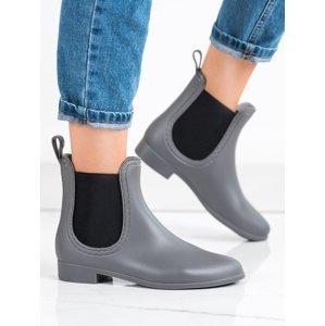 Komfortní šedo-stříbrné dámské  gumáky na plochém podpatku