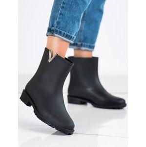 Moderní  gumáky dámské černé na plochém podpatku