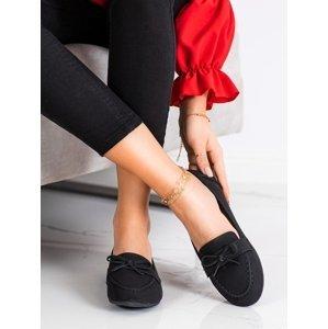 Pohodlné  mokasíny dámské černé bez podpatku
