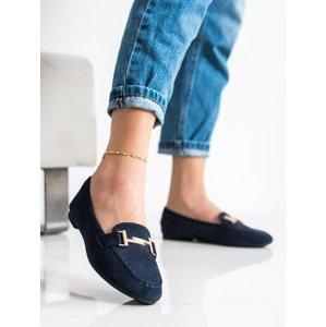 Trendy dámské  mokasíny modré bez podpatku