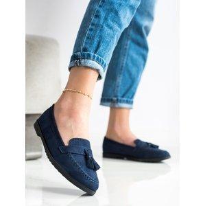 Exkluzívní dámské  mokasíny modré bez podpatku